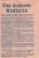 "WWII WW2 Flugblatt Tract Leaflet Листовка Soviet Propaganda Against Germany ""Eine Drohende WARNUNG"" CODE 110  (1) - 1939-45"