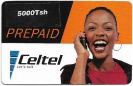 Tanzania - Celtel - Prepaid, Lady With Red T-Shirt, Prepaid 5.000Tsh (on Sticker), Exp.31.12.2002, Used - Tanzania