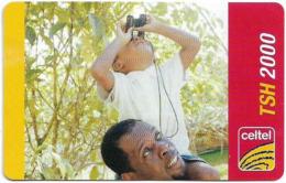 Tanzania - Celtel - Man And Child With Binoculars, GSM Refill 2.000Tsh, Exp.30.04.2011, Used - Tanzania