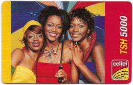 Tanzania - Celtel - 3 Women With Umbrella, GSM Refill 5.000Tsh, Exp.31.03.2006, Used - Tanzania