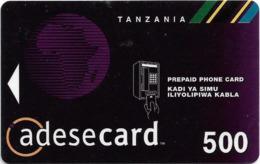 Tanzania - Adesemi - Phone & Logo, Black, Magnetic Prepaid 500Tsh, Used - Tansania