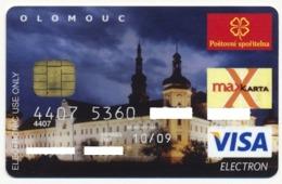 CZECH REPUBLIC CSOB BANK VISA ELECTRON CARD ARCHBISHOP'S PALACE IN OLOMOUC EXP. OCTOBER 2009 - Cartes De Crédit (expiration Min. 10 Ans)
