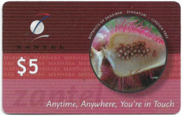 Zanzibar - Zantel - Botanics Of Zanzibar, Lipstick Tree, Soft Thin Plastic Matt Surf. GSM Refill 5$, 2001, Used - Tanzania