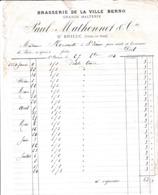 SAINT BRIEUC PAUL MATHONNET BRASSERIE DE LA VILLE BERNO GRANDE MALTERIE ANNEE 1884  DECHIRRURES VOIR SCAN - France