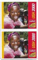 Uganda - Celtel - Smiling Young Girl (2 UNCUT Half Size Cardboard Cards), GSM Refill 2.000Ush, Exp.30.04.2009, Used - Uganda