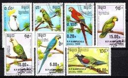 Kampuchea 1989 Mi.nr: 1016-1022 Papageien  Oblitérés / Used / Gestempeld - Papegaaien, Parkieten