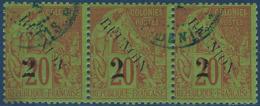 France Colonies Réunion N°31c Bande De 3 Oblitérée Dateur De St Denis Variété REUNOIN Au Milieu Superbe - Réunion (1852-1975)