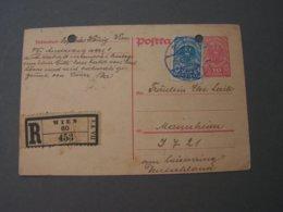 Karte Einschreiben , Wien 1919  Gelocht , Leider - Briefe U. Dokumente