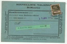 Suisse // Schweiz // Switzerland //  1907-1939 // Carte D'abonnement Du Nouvelliste Valaisan - Briefe U. Dokumente