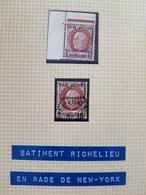 Affaire !!! 2 Timbre Pétain 1f50 Bat Ligne Richelieu 1 Neuf, 1 Oblitéré Rade De New York Cote YT > 500€ - Liberation