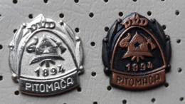 Fireman / Firefighter Helmet Fire Brigade DVD Pitomaca Croatia Ex Yugoslavia Pins - Brandweerman