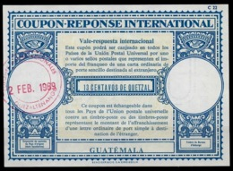 GUATEMALA Lo17A 13 CENTAVOS Int. Reply Coupon Reponse Antwortschein IRC IAS Postmark In Red CUPONES INTERNACIONALES !! - Guatemala