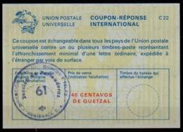 GUATEMALA La22A  40 CENTAVOS DE QUETZAL International Reply Coupon Reponse Antwortschein IAS IRC O Direccion General 61 - Guatemala