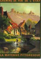 CP- Chemin De Fer De L'État - La Mayenne Pittoresque -Sainte Suzanne (Mayenne)  Exécutée Par L'artiste Ch. Hallé 1925 - Advertising