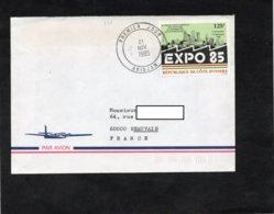 LSC 1985 - Cachet  Premier Jour  ABIDJAN  Sur Timbre EXPO 85 - Côte D'Ivoire (1960-...)