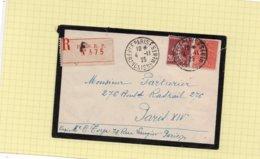 LSC 1925 - Recommandé Et Cachets PARIS  AFFRANCHISSEMENTS Sur YT 139 & YT 204 - Storia Postale