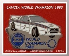 SUPER PIN'S RALLYE : LANCIA CHAMPION Du MONDE De RALLYE WCR Sur 037 EnZAMAC ARGENT, Signé ELIXYR 3,5X2cm - Rally