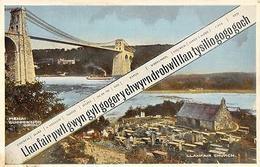 Wales Anglesey Llanfair Pwllgwyngyll, Menai Suspension Bridge, Church - Anglesey