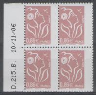 """N°3969 ** En Bloc De 4 BdF Daté, Variété """"piquage Décalé"""" ! - Errors & Oddities"""