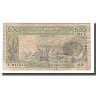 Billet, West African States, 500 Francs, 1981-1990, KM:706Kc, TB - West African States
