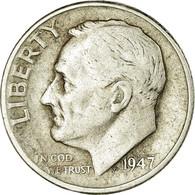 Monnaie, États-Unis, Roosevelt Dime, Dime, 1947, U.S. Mint, Denver, TB, Argent - 1946-...: Roosevelt