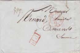 LAC De Paris (75) Pour Amiens (80) - 6 Décembre 1842 - CAD Rond Type 14 & 15 + Cachet PP Rouge - 1801-1848: Precursori XIX