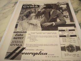 ANCIENNE PUBLICITE MONTRE CYMA D HEUROPLAN 1959 - Bijoux & Horlogerie
