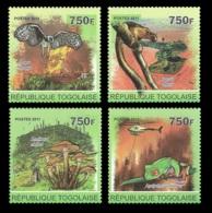 Togo Forest Fire Helicopter Frog Owl Mushroom Squirrel 4v Set Mi:3984-87 - Célébrités