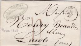 LAC De Rouen (76) Pour Laigle (61) - 15 Mai 1848 - CAD Rond Type 15 - Taxe Manuelle 4 - 1801-1848: Precursori XIX