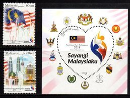 MALAYSIA, 2018, MNH, NATIONAL DAY, PETRONAS TOWERS, COAT OF ARMS, FLAGS,  2v+S/SHEET - Other