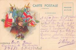 Guerre 1939 1945 Carte Postale Franchise Militaire Illustrée Soldat Pensées Drapeaux 1940 Compagnie De Cantonniers Génie - Guerre 1939-45