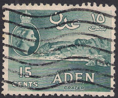 Aden 1953 – 63 QE2 15ct Greenish Grey Used SG 53 ( J668 ) - Aden (1854-1963)