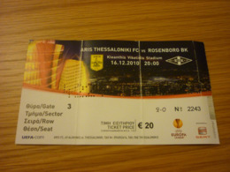 Aris-Rosenborg BK UEFA Europa League Football Match Ticket Stub 16/12/2010 Rare - Tickets - Entradas