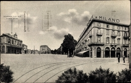 Cp Torino Turin Piemonte, Grand Hotel Dock & Milano, Straßenpartie, Bahnhof - Italia