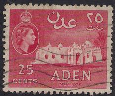 Aden 1953 – 63 QE2 25ct Carmine Red Used SG 54 ( J1257 ) - Aden (1854-1963)