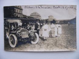 Carte Photo Chateau Venaria Reale Turin 1910 Avec Automobile Cachet Torino Ferrovia - Italie