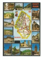 68-Carte Contour Géographique Du Département De  HAUT RHIN - Cartes Géographiques