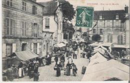 PONTOISE. CPA Voyagée En 1908 Une Vue Du Marché - Pontoise