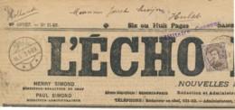 136 Sur Fragment Du Journal L'Echo – PMB 8 BLP 7 XII Vers Hulst 16.12.15 Pays Bas – Militaire Censuur. - 1915-1920 Albert I.
