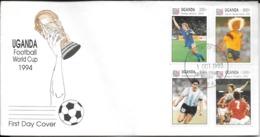 FOOTBALL PLAYERS DIEGO MARADONA PEDRO TROGLIO TOMAS BROLIN CARLOS VALDERRAMA FDC 1994 UGANDA FOOTBALL WORLD CUP 1994 - Copa Mundial