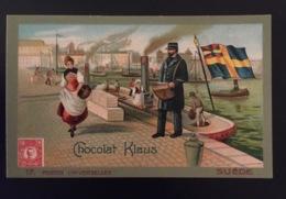 SUEDE  Facteur Poste  Péniche Vapeur Port  Chocolat Klaus Chromo Postes Universelles - Altri