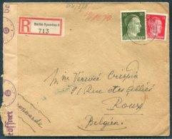 WW2 Germany Registered Censor Cover. Berlin-Spandau - Roux Belgium. Chemical Swipe - Germany