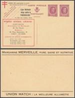 "BELGIQUE ENTIER HOUYOUX PUBLICITAIRE CAT WAROQUIERS C.P.A N°32 ""credit General+antituberculeux"" (DD) DC-4443 - Stamped Stationery"