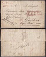 """FRANCE 1821 LETTRE DE ROUEN """"P.74.P. ROUEN"""" + ENCADRE P.P.P.P. VERS GEMBLOUX BELGIQUE (DD) DC-4463 - Marcophilie (Lettres)"""
