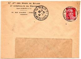 PARIS 67 / Pl. Des ABBESSES 1946 =  CACHET MANUEL A7 Sur MARIANNE De GANDON + Sté BITUME & ASPHALTE - Bolli Manuali