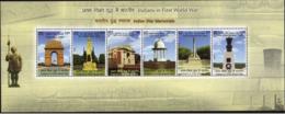 5X INDIA  2019 Indians In First World War - Indian War Memorials, Miniature Sheet, MINT - India