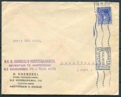 "1929 Netherlands Boxed ""Amsterdam Central Station"" Machine Cancel Cover. Ederzeel Stamp Dealer - Germany - Period 1891-1948 (Wilhelmina)"