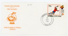 COTE D'IVOIRE - FOOT ESPANA 82 N° Yt 583 Obli. 1er JOUR DE ABIDJAN SUR LETTRE - Côte D'Ivoire (1960-...)