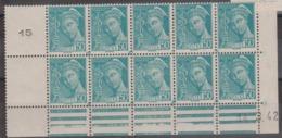N° 538 Bloc De 10 Coin Daté - France