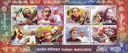 5X INDIA 2014 Indian Musicians; Miniature Sheet, MINT - India